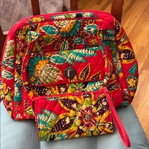 Vera Bradley dome satchel with matching wallet.